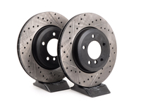 Cross-Drilled & Slotted Brake Rotors - Front - E46 330i, Z4 3.0Si (pair)
