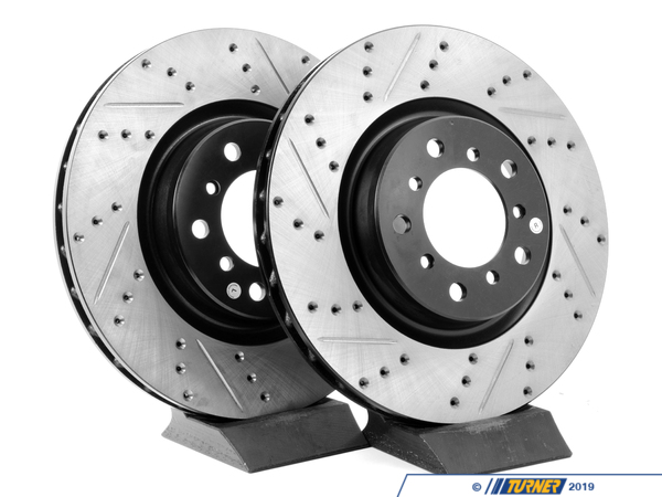 StopTech Cross-Drilled & Slotted Brake Rotors - Front - E46 M3 (pair) TMS12033