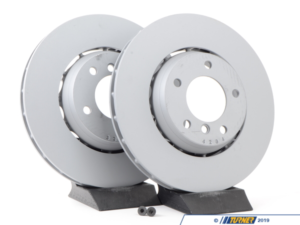 T#3852 - 34112227737K - Front Euro Floating Brake Rotors - E36 M3 (L&R Pair) - In Europe, the E36 M3 had advanced 2-piece brake discs that were both lighter and dissipated heat better than the stock rotors for US cars. The Euro rotors are a 'floating' design with an aluminum center hat instead of cast iron. The open hat design allows more airflow through and around the rotor and the wheel bearing hub. Their better design and performance characteristics lead to better braking performance on the track or autocross. However, BMW did not want the Euro-spec rotors sold here so they are currently not available direct from BMW. Zimmerman is an OE manufacturer to Porsche and VW/Audi and have been making replacement BMW rotors for years. They quickly filled the hole left by BMW by producing their own 2-piece floating rotor that is very close to the original BMW design.Price is for the pair.This item fits the following BMWs:1995-1999  E36 BMW M31998-2002  Z3 BMW Z3 M Roadster M Coupe - Zimmermann - BMW