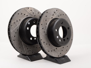 Centric Cross-Drilled & Slotted Brake Rotors - Front - E60 5 Series 6 Cyl 525/528/530/535 (Many, See List) (pair)