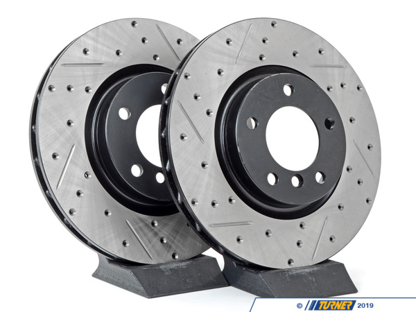 StopTech Cross-Drilled & Slotted Brake Rotors - Front - E36 M3, MZ3 (Pair) TMS12032