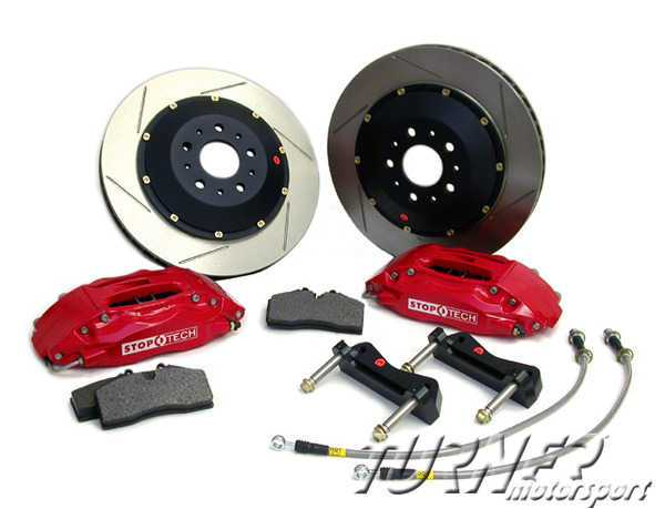 T#3287 - TMS3287 - StopTech Front Big Brake Kit (355mm) 4-Piston - E46 M3 - Red Calipers - Drilled Rotors - StopTech -
