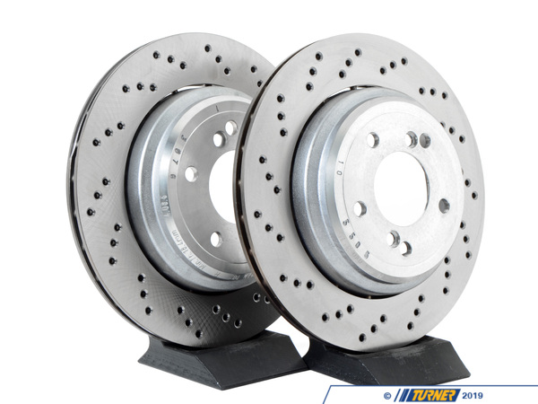 T#3857 - 34212282303K - Cross-Drilled & Floating Brake Rotors - Rear - E46 M3 US/Euro/CSL/ZCP - Genuine BMW - BMW