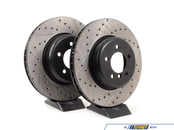 StopTech Cross-Drilled & Slotted Brake Rotors - Front - E60 535/545i/550i & E63/E64 645i/650i (Pair) 34116763824CDS