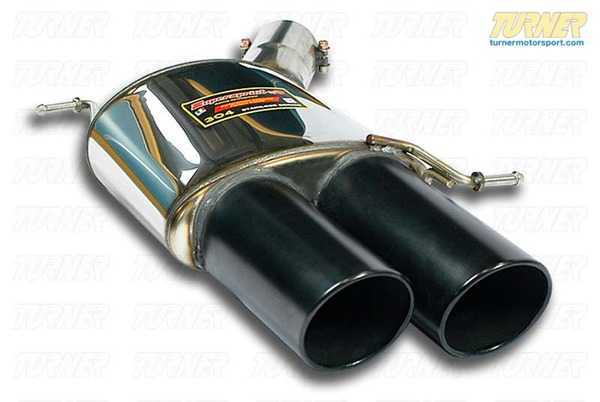 T#184367 - 986776 - F10 M5 Supersprint Left Performance Muffler with Black Tips - Free ground shipping!Supersprint exhaust is widely recognized as the leader in complete exhaust system upgrades - extremely high quality, well designed for optimal flow, and amazing sound. Even at a premium price Supersprint is an unbeatable exhaust system because every aspect is done to such a high level. A Supersprint exhaust rewards you with a terrific sound, long lasting construction and excellent fitment. The Supersprint sound is very 'European' which fits the sporting sophistication of BMWs perfectly. Most systems are also modular - sections can be added or removed to custom tailor the exhaust sound to your preferance. Aside from 'Race' systems, their mufflers meet European noise laws so you get a refined and tuned sound without being excessively loud. Most Supersprint systems are built with larger diameter piping to improve exhaust flow which helps the engine do less work and make more horsepower! Supersprint exhausts generally run at a premium over other systems but no other system on the market can match their quality, performance, or reputation!NOTE: Supersprint engineers and manufactures complete exhaust systems. This part was designed to be used with the rest of the Supersprint system on this car but may be used on its own. Contact us for more details. - Supersprint - BMW