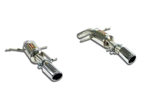 T#211248 - 046144-046124 - E90 335i Supersprint Racing Mufflers (2x90mm Tips) - Free ground shipping!Supersprint Racing mufflers are a lighter, louder version of their tuned street performance mufflers. Where the performance muffler must meet European noise regulations the Racing mufflers do not. This allows you to have more volume and zing to your exhaust system. Supersprint has tuned these mufflers to be aggressive but not excessively loud; just loud enough that you know they're in place. Single 90mm tips per side fill out the exhaust outlets nicely and give more definition to the rear end. These will install in place of the factory mufflers and connect to the rest of the factory 335i exhaust system.Supersprint exhaust is widely recognized as the leader in complete exhaust system upgrades - extremely high quality, well designed for optimal flow, and amazing sound. Even at a premium price Supersprint is an unbeatable exhaust system because every aspect is done to such a high level. A Supersprint exhaust rewards you with a terrific sound, long lasting construction and excellent fitment. The Supersprint sound is very 'European' which fits the sporting sophistication of BMWs perfectly. Most systems are also modular - sections can be added or removed to custom tailor the exhaust sound to your preferance. Aside from 'Race' systems, their mufflers meet European noise laws so you get a refined and tuned sound without being excessively loud. Most Supersprint systems are built with larger diameter piping to improve exhaust flow which helps the engine do less work and make more horsepower! Supersprint exhausts generally run at a premium over other systems but no other system on the market can match their quality, performance, or reputation!Specific 335d Information:section:rear mufflersconnects to:stock section 2 x-pipetip style:90mm dual roundmaterial:T304 stainless steelThis item fits the following BMWs:2007-2011  E90 BMW 335i - Sedan - Supersprint - BMW