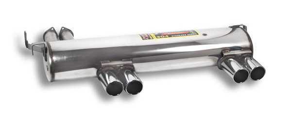 T#180917 - 787506 - E46 M3 Supersprint Performance Muffler - Free ground shipping!This is the original Supersprint street rear muffler for the E46 M3. It's a direct replacement for the stock rear muffler but with less restriction and better flow. This exhaust is not overly loud (conforming to European noise restrictions) and no drone but is larger and heavier than the other Supersprint mufflers. It makes a deeper tone than with slightly more rasp than the stock system.Supersprint exhaust is widely recognized as the leader in complete exhaust system upgrades - extremely high quality, well designed for optimal flow, and amazing sound. Even at a premium price Supersprint is an unbeatable exhaust system because every aspect is done to such a high level. A Supersprint exhaust rewards you with a terrific sound, long lasting construction and excellent fitment. The Supersprint sound is very 'European' which fits the sporting sophistication of BMWs perfectly. Most systems are also modular - sections can be added or removed to custom tailor the exhaust sound to your preferance. Aside from 'Race' systems, their mufflers meet European noise laws so you get a refined and tuned sound without being excessively loud. Most Supersprint systems are built with larger diameter piping to improve exhaust flow which helps the engine do less work and make more horsepower! Supersprint exhausts generally run at a premium over other systems but no other system on the market can match their quality, performance, or reputation!section:rear mufflerconnects to:stock section 2 or Supersprint section 2tip style:80mm quad roundmaterial:T304 stainless steelThis item fits the following BMWs:2001-2006  E46 BMW M3 - Supersprint - BMW