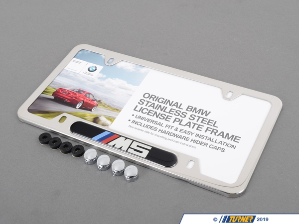 "T#119 - 82120149104 - M5 License Plate Frame Silver Polished - This is a silver polished / chrome appearance license plate frame with the BMW motorsport ""M5"" logo. This Genuine Original BMW part is a great way to improve the looks of any BMW. The ""///M5"" emblem is domed for a classy look and these look superb framing the license plate of any E28 M5, E34 M5, E39 M5, or E60 M5.These are sold individually, so be sure to order two -- one for the front license plate, and one for the rear. - Genuine BMW -"