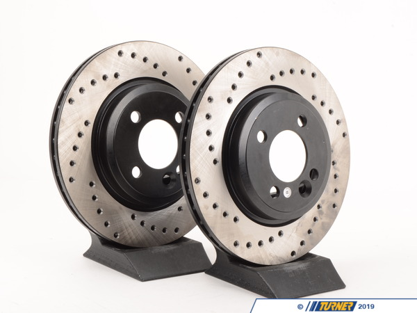 T#590 - 34111502891CD - Cross-Drilled Brake Rotors - Front - MINI Cooper/Cooper S 02-06 (Pair) - Packaged by Turner - MINI