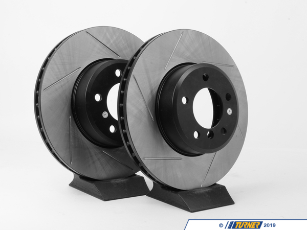 T#14297 - 34116753221GS - Gas-Slotted Brake Rotors (Pair) - Front - E60 525i/528i/530i/535i - Direct replacement Front gas-slotted brake discs for E60 5-series. These rotors feature a unique black electro-coating that is designed to prevent corrosion. Each rotor is e-coated then double-ground and balanced to ensure an even surface with no vibration. The e-coating is the best anti-corrosion protection currently available in replacement rotors. Most aftermarket rotors are not coated, allowing surface rust to form right away, which is unattractive when brakes can be seen through your wheels. Slotting a rotor helps to release gases that build up between the rotor surface and an out-gassing brake pad. Without an escape, this thin layer of gas will cause a delay until the pad cuts through gas layer. The slots in our rotors allow the gases to escape giving better braking performance. For track and racing use, slotting is preferred over cross-drilling because the slots don't take away as much mass from the rotor and won't suffer from structural cracks. Sold as a FRONT pair.These front brake discs / rotors fit:2004-2005 E60 525i  **AUTO ONLY**2006-2006 E60 525i & 525xi (auto & manual trans)2004-2006 E60 530i, 530xi, 530xi wagon (All) 2007-2009 E60 528i, 528xi, 528i xDrive (All)2008-2010 E60 535xi, 535i xDrive (All) - StopTech - BMW