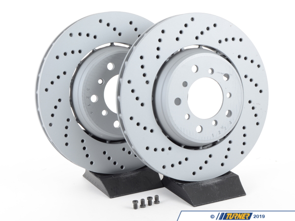 T#2806 - 34112282801-ZIMM - Front Cross-Drilled & Floating Brake Rotors -E46 M3 US/Euro - Zimmermann - BMW