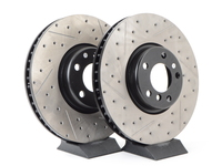 Cross-Drilled & Slotted Brake Rotors - Front - F10 F12 F06 F01 F07 (Pair)