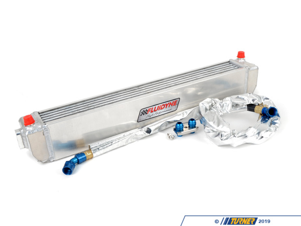 T#4031 - TMS4031 - E46 M3 Turner Motorsport Fluidyne Oil Cooler Kit - The stock oil cooler on the E46 M3 is simply not up to the task, with oil temps rising quickly on track days. We have solved that problem by assembling this kit with a much larger Fluidyne oil cooler, our own special-length oil cooler lines, and the Turner Motorsport Oil Line Fitting Kit. The Fluidyne oil cooler has more surface area and holds more oil than the original. This not only ensures the oil is cooled better but also that hot oil is circulated through the system less often (less heatsoak of the oil). With this kit on our SCCA T2 M3 we never had oil temp issues, even after two seasons of National and Runoff races. The cooler can fit in the factory location for a safe and clean appearance, however, brackets must be fabricated by your installer. The lines are custom made to our spec with extra strength braided steel with a Teflon outer coating and -10 AN fittings. The lines attach to the stock oil filter housing with our Oil Line Fitting Kit and o-rings are included. The length of the lines also makes them compatible with most supercharger kits (with custom brackets you can mount the oil cooler so that nothing on the cooler or the supercharger needs to be modified for fitment).Fitment note: due to the various uses and locations available, brackets are not included with the oil cooler. Hanger brackets will need to be fabricated to mount the oil cooler to the car.This item fits the following BMWs:2001-2006  E46 BMW M3 - Turner Motorsport - BMW