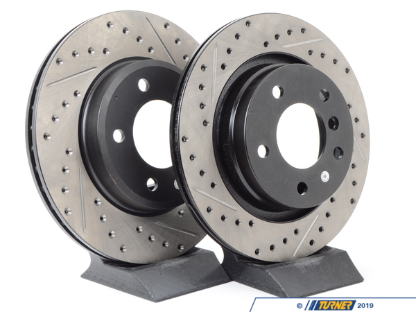 StopTech Cross-Drilled & Slotted Brake Rotors - Front - E46 325i/328i, Z3 3.0, Z4 3.0i (pair) 34111164539CDS