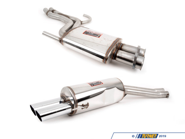 T#3876 - TMS3876 - E34 M5 Supersprint Exhaust System (Center Resonator + Performance Muffler) - Free ground shipping!Supersprint makes a sophisticated performance exhaust for the E34 M5 that blends well with the car's sporting technical excellence. The Supersprint system is a refined sport exhaust for a classic sound and looks without an overpowering volume or blatty tone. It's a beautiful complement to a special car. This Supersprint bolts to the stock catalytic converters and uses all of the factory hangers and gaskets for an easy install.Supersprint exhaust is widely recognized as the leader in complete exhaust system upgrades - extremely high quality, well designed for optimal flow, and amazing sound. Even at a premium price Supersprint is an unbeatable exhaust system because every aspect is done to such a high level. A Supersprint exhaust rewards you with a terrific sound, long lasting construction and excellent fitment. The Supersprint sound is very 'European' which fits the sporting sophistication of BMWs perfectly. Most systems are also modular - sections can be added or removed to custom tailor the exhaust sound to your preferance. Aside from 'Race' systems, their mufflers meet European noise laws so you get a refined and tuned sound without being excessively loud. Most Supersprint systems are built with larger diameter piping to improve exhaust flow which helps the engine do less work and make more horsepower! Supersprint exhausts generally run at a premium over other systems but no other system on the market can match their quality, performance, or reputation!section:center resonator + rear mufflerconnects to:stock cat sectiontip style:76mm quad roundmaterial:T304 stainless steelThis item fits the following BMWs:1991-1995  E34 BMW M5 - Supersprint - BMW