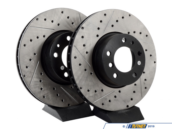 StopTech Cross-Drilled & Slotted Brake Rotors - Front - E39 540i (up to 3/00), E38 740i/il, E31 (pair) 34111159895CDS