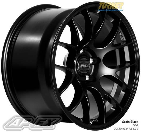"T#180716 - EC718105ET27SMBK - APEX EC-7 18x10.5"" ET27 Satin Black Wheel 22.50lbs -PROFILE 3 - APEX Wheels - BMW"