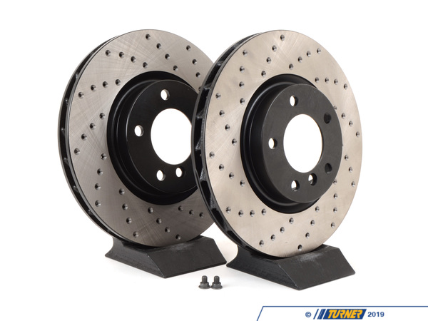T#3928 - TMS3928 - Cross-Drilled Brake Rotors - Front - E36 M3, MZ3 (Pair) - StopTech - BMW