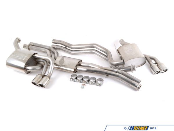 T#4171 - TMS4171 - E46 M3 Borla Complete Exhaust - Cat-Back Section 1, Section 2, Mufflers (Round Tips) - Section: section1, section 2, rear mufflersInstallation: bolt-on to header/cat, clamp and bolts elsewhereTip Style: quad round Borla angle cutPower Gain: +12hpThis package combines Borla's celebrated V2 Midpipe with their unique oval-tip mufflers. The Midpipe is recognized as one of the best exhaust upgrades that will reduce the raspy exhaust note from the S54 engine. This full Borla exhaust for the E46 M3 will give more rumble and depth to the exhaust note, especially at low RPM. Four round tips in the bumper are a pleasing aesthetic bonus over the stock muffler tips. This is a true cat-back exhaust for the M3 with the front section bolting right to the headers/cats. All of the factory hangers and gaskets are re-used.Every Borla is made with 304 stainless steel for the internals and muffler body. Unlike other systems that can use coated aluminum, mild steel, or 409 stainless, the Borla uses true 304 stainless on the inside as well as the outside. This prevents the muffler from rusting and deteriorating from the inside out. Borla guarantees every muffler with a 1,000,000 mile warranty. Turner Motorsport has been the leading Borla dealer for BMW exhausts since we sold our first system in 1996, including using Borla Exhausts on every Turner BMW racecar.Applications:2001-2006 E46 M3 - Borla -