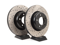 Cross-Drilled & Slotted Brake Rotors - FRONT - E82 135i (Pair)