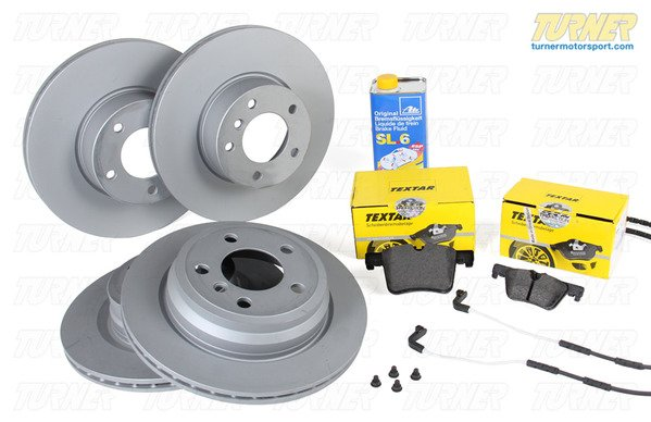 T#340308 - TMS208370 - Complete Front & Rear Brake Package - F31 328i/dX/iX M Sport, F34 328i/iX GT M Sport, F33 428i/iX M Sport (Option P337A) - Packaged by Turner - BMW