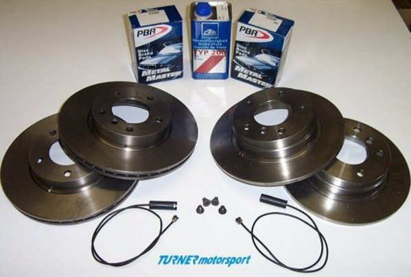 T#340195 - E46BRAKEPACK - Complete Front & Rear Brake Package - E46 325i 328i, E46 323i Wagon, E46 323Ci Conv - Packaged by Turner - BMW