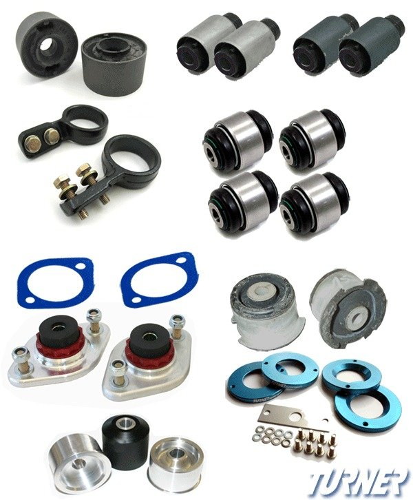 T#340201 - TMS340201 - 3-series Rear Suspension Mount Package - Rubber Street Bushings - E46 (not M3) - Packaged by Turner -