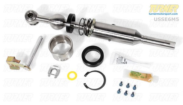 "T#339061 - USSE6M5 - UUC EVO3 Short Shift Kit - E39 M5 & 540i - The best short shift kit available for E39 M5 and E39 540i 6 speed. This is the latest EVO 3 edition. UUC's latest update has resulted in even smoother shifts, a reduction in vibration, and more features. UUC redesigned all of the pivot points in the shift linkage to reduce notchiness. This shifter includes UUC's innovative Cartridge Bearings instead of a poly or rubber bushing. The bearing makes a night and day difference in shift smoothness! The result is a shifter that is 35% shorter than stock but feels closer to the stock effort. And new internal dampening material doesn't transmit vibration to the shift knob. All UUC Short Shifters are height-adjustable over a 3/4"" range - giving you the same ergonomic comfort as the original. UUC's Short Shift Kits include: T-304 stainless steel shift lever, sealed lower pivot bearings, and new installation hardware. Delrin carrier bushings not included on E39 540/M5 as the stock shifter carrier is a double-shear design. This is the best Short Shifter money can buy!Want the ultimate shifter feel, with the least amount of lateral play? Upgrade this kit by adding a UUC Dual Shear Selector Rod (""DSSR"" for short). A DSSR can be added to any shifter setup (stock or aftermarket, including this UUC EVO3), and when combined with the EVO3, you will have the most accurate, most precise, and simply the best shift setup available for your BMW. To upgrade this EVO3 kit to include a DSSR, simply choose from the options below. To read more about the DSSR, click here. This UUC short shift kit fits the following BMWs:1997-2003 E39 540i sport 6-speed2000-2003 E39 M5 sedan - UUC - BMW"