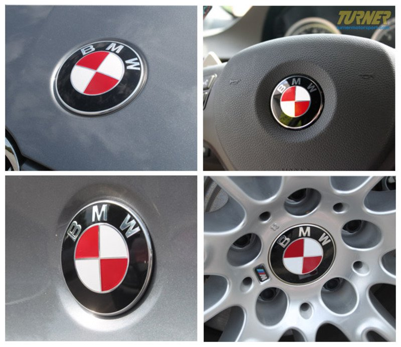 TMS Colored Roundel Emblem Cover Set HoodTrunkWheels - Bmw decals for wheels