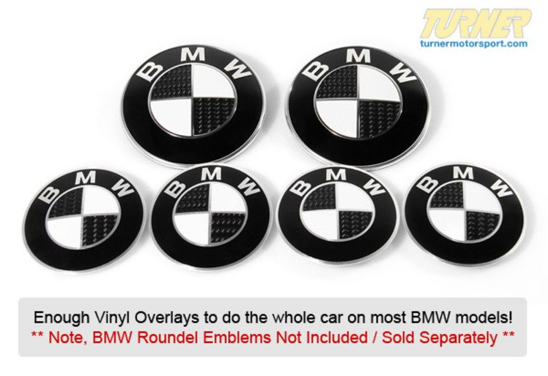 TMS Carbon Fiber Roundel Emblem Decal Set HoodTrunk - Bmw decals for wheels