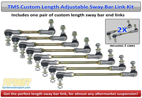 T#338618 - TMS2104 - Turner Motorsport Custom Length Adjustable Front Sway Bar End Links (Pair) - Exactly what you need when lowering your vehicle to keep your suspension geometry happy - Turner Motorsport - BMW