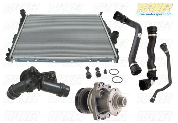 "T#338701 - TMS14415 - Complete Cooling System Overhaul Package - 1999-2003 E39 525i 528i 530i - This is a compete cooling system overhaul kit, which includes all the common cooling system failure parts bundled into a complete package. This cooling system package is for the 1999-2000 528i with the M52TU engine and the 2001-2003 525i and 530i with the M54 engine. This package applies to cars equipped with either the manual or automatic transmission. Much of the later E39 cooling system is strong and reliable and doesn't suffer the same types of problems associated with earlier E39 and E36 systems. But there is still the potential for serious cooling system and engine-related failures. Several of the primary cooling components are prone to failure within 80k miles (or less in many cases). A failure in the cooling system can lead to overheating and catastrophic engine failure. Don't gamble your engine! By replacing these core items preventatively, such as the thermostat housing, radiator, and waterpump, you are defusing what could be a ticking cooling system time bomb. And if you've had a failure of one of these parts, now is the time to refresh your entire cooling system. Our kit includes an OEM Behr radiator, an Original BMW water pump (with updated composite impeller), thermostat with housing, radiator cap, and new radiator hoses. Optional items (which can be added below):- Original BMW antifreeze- Upgrade the water pump to a Stewart EMP High Performance pump- Add a new coolant expansion tank (known for cracking)- Add a new coolant level sensor (known for failing / throwing ""check coolant"" messages)- Add a new coolant temp sensor (located in lower radiator hose and the seal ring may cause leaks if re-used)This cooling system overhaul kit fits the following BMWs:1999-2003  E39 BMW 525i 528i 530i - Packaged by Turner - BMW"