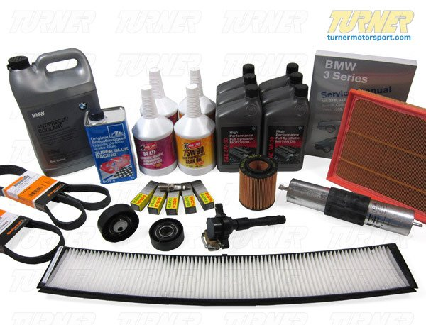 T#339101 - TMS14291 - E85 Z4 2.5/3.0 03-05 Maintenance Service Package - Don't up with the maintenance on your car is the smart thing to do. For one thing, it prevents costly repairs in the future. For another, your car performs better, making aftermarket upgrades more worthwhile. And a well-maintained car with complete service records can add substantially to a car's resale value. Our service packages for your Z4 will ensure you get many more silky-smooth miles from your BMW.This package can be configured any number of ways to ensure you get what you need for a full Inspection I, Inspection II, or any other major preventative maintenance service. Our parts are OE, OEM, or performance alternatives that we have been using since 1993 so you get top quality parts, first-rate service, and unbeatable expertise.5,000 Mile Oil Service (click to expand)   engine oil change with filter, using OE BMW 5W30 or Motulinstall or clean magnetic drain plugreplace drain bolt crush washerreset oil service/maintenance lightinspect and top off any other fluids   Annual Service (click to expand)   air filter cleaning or replacementMAF/airflow sensor cleaningA/C microfilter/cabin filter replacementbrake fluid flush/bleedingtop off power steering fluidwiper blade replacementlubricate door hinges and treat rubber door sealsinspect spare tire, including pressure, and tire-changing toolsinspect belts for cracking or stretchinginspect intake boots and vacuum lines for crackslubricate throttle linkageinspect brake system for pad wear, rotor wear, parking brake operation, and brake pedal pressureinspect bushing and ball joints for excess play/movementensure the cooling systems are functioning correctly (hoses and thermostat, thermostat housing, auxiliary fan, A/C system, etc)30,000 Mile Major Service (click to expand)   engine oil change with filter, using OE BMW 5W30 or Motulreset oil service/maintenance lightair filter replacement or cleaning for aFe/K&N typefill and bleed cooling systemtransmission fluid change, using Red Line MTL or Motul 75W80differential fluid change, using Red Line 75/90 or Motul Gear300brake fluid flush/bleedingfuel filter replacementengine and A/C serpentine belt replacementinspect belt roller pulleys (drag and rotation), main accessory pulleys (cracking), and belt tensionerscomplete chassis inspection, including: front control arms, tie rods, ball joints, wheel bearings, rear trailing arm bushings, rear upper shock mounts, rear subframe mounts, rear sway bar mounting tabs, axle shaft bootscomplete brake system test and inspectionengine and transmission leak detection and diagnosisshifter linkage, driveshaft guibo, CV, and center support bearing inspectionexhast system inspection, including hanger replacement60,000 Mile Major Service (click to expand)   spark plug replacementignition coil and coil boot inspection and replacementengine oil change with filter, using OE BMW 5W30 or Motulreset oil service/maintenance lightair filter replacement or cleaning for aFe/K&N typefill and bleed cooling systemtransmission fluid change, using Red Line MTL or Motul 75W80differential fluid change, using Red Line 75/90 or Motul Gear300brake fluid flush/bleedingfuel filter replacementengine and A/C serpentine belt replacementreplace belt roller pulleys and belt tensionersinspect main accessory pulleys for crackscomplete chassis inspection, including: front control arms, tie rods, ball joints, wheel bearings, rear trailing arm bushings, rear upper shock mounts, rear subframe mounts, rear sway bar mounting tabs, axle shaft bootscomplete brake system test and inspectionengine and transmission leak detection and diagnosisshifter linkage, driveshaft guibo, CV, and center support bearing inspectionexhast system inspection, including hanger replacementYou may also want to pick up these other helpful items:replace your drain plug with a magnetic oneBentley Service ManualPeake Fault Code Scanner and Service Light Reset ToolThis package fits the following BMWs:2003-2008  E85 BMW Z4 2.5i Z4 3.0i with manual transmissionPut a check in the boxes next to the items you wish to order. - Packaged by Turner - BMW