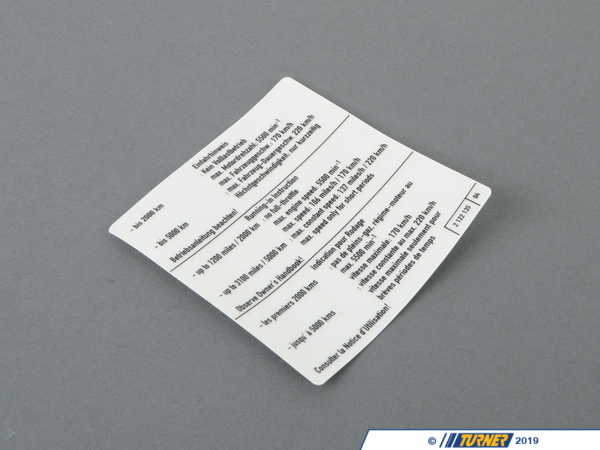 "T#156657 - 71212122135 - Genuine BMW Label ""run-in Instruction"" - 71212122135 - Genuine BMW -"