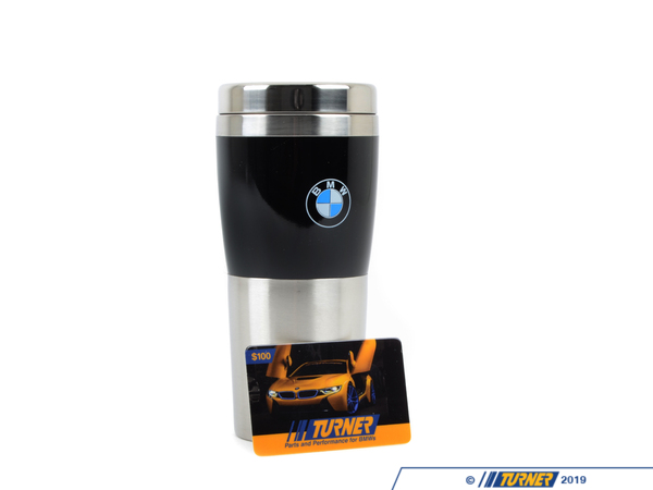 T#2730 - GC100 - $100 Turner Motorsport Gift Package - Special Gift Package! This BMW holiday gift package includes a $100 Turner Motorsport gift certificate (the perfect gift for any BMW enthusiast) and a Genuine BMW ceramic coffee mug. That's essentially a free authentic BMW coffee mug to give for that BMW lover on your shopping list. No matter what BMW your gift recipient owns, or what they need, you know they can choose exactly what they want from our THOUSANDS of BMW products, parts and BMW accessories. Offer valid while supplies last. Limit 1 Gift Package per customer.  - Packaged by Turner - BMW MINI