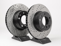 Turner-Stoptech Cross-Drilled & Slotted Brake Rotors - Front - E34 525i/530i/535i/iT (pair)
