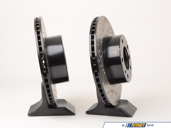 T#14293 - 34111160936CDS - Turner-Stoptech Cross-Drilled & Slotted Brake Rotors - Front - E34 525i/530i/535i/iT (pair) - StopTech - BMW