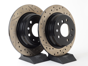 Cross-Drilled & Slotted Brake Rotors - Rear - E34 525i/530i/535i (Pair)