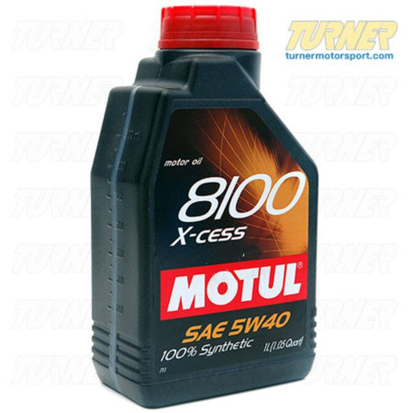T#1867 - MOXC-5W40-1L - MOTUL 8100 5W-40 X-cess Synthetic Engine Oil - 1 liter bottle - MOTUL is among the most advanced full synthetic motor oils on the market today and used by the Turner Motorsport Service shop and race team. This 5W40 synthetic meets BMW LL01 and LL98 approvals as well as VW 502 00, 505 00, Porsche, and Mercedes Benz specifications. It's also been approved for ACEA A3/B4 types (extended service intervals) and API Service SN (the latest oil standards available). API SN exceeds BMW's own Castrol-based 5W30 motor oil which has an API SL rating. Motul 8100 X-cess has been specially formulated to work with gasoline up to E85 Ethanol content and provide protection for the emissions system. The 5W40 is what our own Service dept uses on customer and personal cars, including all of the new BMW direct injection and turbo engines.This is a 1-liter bottle and priced per bottle. 1L = 1.05 quarts. - Motul - BMW MINI