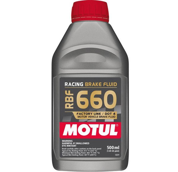 T#2732 - RBF660 - MOTUL RBF 660 Racing Brake Fluid (DOT4) - 500ml Bottle - Motul RBF660 is a ultra high performance DOT4-rated brake fluid intended for track and race vehicles. Motul's advanced glycol and borate formula has resulted in very high boiling points - even though it's rated as a DOT4 fluid, its boiling points exceed DOT5 specs. With such a high boiling point brake fade and vapor lock due to overheating is all but eliminated. Even with a higher wet boiling point, this fluid will absorb moisture faster than most other DOT4 fluids so it will require more frequent changes than other types.Click here for more information on the different types of brake fluid.ProductDry Boiling PointWet Boiling PointViscosityDOT RatingMotul RBF660325 C (617F)*204C (400F)*normal4Sold per half-liter (500mL).*NOTE: This brake fluid is ground ship only within the contiguous United States - Motul - BMW MINI