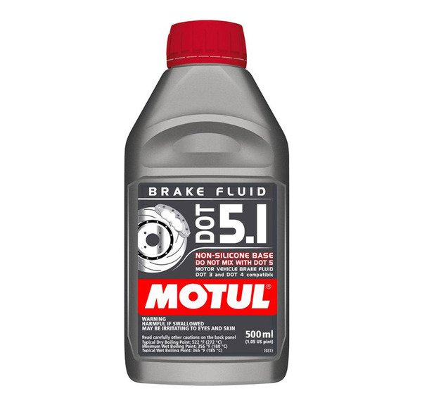 T#3139 - 8070HC - Motul DOT 5.1 Brake Fluid - 1/2 liter - The Motul DOT5.1 fluid is a low viscosity formula for modern ABS and DSC systems. BMW recommends low viscosity brake fluid for all chassis beginning with the E60 5-series and everything after the 2006 model year. Low viscosity (LV) is a thinner fluid that works better than a normal fluid in the small channels and passageways in the ABS/DSC pump. Using the heavier fluid will result in a delayed response to ABS and DSC activation and a spongy feel in the brake pedal (only during ABS stops). The Motul DOT5.1 also meets DOT5 levels for boiling points but can also be mixed with DOT4 fluid. DOT4 fluid is still acceptable to use in later cars under racing/track conditions as the fluid will thin out at higher temperatures (Motul RBF600/660 DOT4 have higher boiling points than DOT5.1). But for street conditions the DOT5.1 is better.Click here for more information on the different types of brake fluid.Product   Dry Boiling Point   Wet Boiling Point   Viscosity   DOT RatingMotul DOT5.1   272 C (522 F)*   180 C (356 F)*   low   5Sold per half-liter (500mL). - Motul - BMW MINI