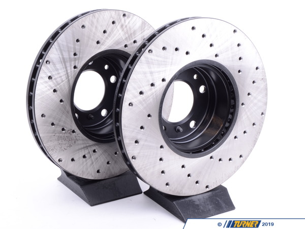 T#3398 - 34111159895CD - Cross-Drilled Brake Rotors - Front - E39 540i (up to 3/00), E38 740i/il, E31 (pair) - StopTech - BMW