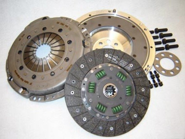 "T#878 - 520-010S-S873G - Z4 M HD Clutch and Flywheel Kit - This lightweight aluminum flywheel w/ Heavy Duty ""sprung-hub"" clutch package is the best-engineered solution for E46 325 and 330 models with the 6-speed transmission, Z4 2.5/3.0, and Z4 M Roadster and M Coupe. Instead of picking a clutch from another car that may or may not work at all, the engineers at JB Racing have taken all of the guess work out of this upgrade and incorporated a Sachs sport sprung-hub clutch with the correct pressure plate and combined it with their most-popular aluminum lightweight flywheel. The Sachs HD clutch disc has a sprung hub to minimize noise and vibration and organic linings to give the feel and engagement of a stock clutch. Mixing and matching of the incorrect clutch, pressure plate, and flywheel components can lead to inconsistent engagement and feel -- why make your clutch feel worse?In addition, the Sachs HD pressure plate will clamp with greater force -- allowing approximately 350 ft-lbs of torque, which makes it an obvious upgrade from the stock clutch kit. And with the aluminum flywheel weight savings is substantial over the stock dual-mass flywheel - which allows your motor to spool up faster and transmit more HP to the ground.Because Sachs is an OE supplier to most German cars, replacement parts are just a phone call away. This kit uses the stock throw-out bearing (included in the price).Z4 M Sport Clutch and Flywheel Applications:2006-2008 E85 Z4, E86 Z4 Z4 M Roadster, Z4 M Coupe - JB Racing - BMW"