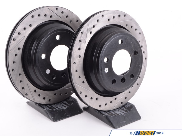 StopTech Cross-Drilled & Slotted Brake Rotors - Rear - E39 525i/528i/540i (pair) 34211164840CDS