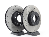 Cross-Drilled & Slotted Brake Rotors - Front - E39 530i, 540i 03/00+ (pair)