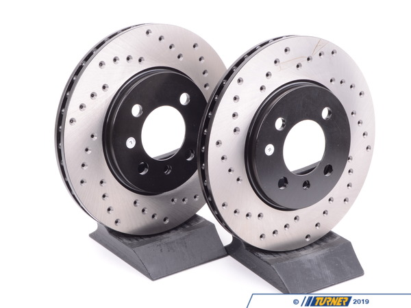 StopTech Cross-Drilled Brake Rotors - Front - E30 325e 328i 325is 325ix 318is 34111160915CD