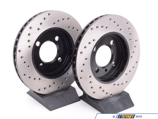 T#3390 - 34111160915CD - Cross-Drilled Brake Rotors - Front - E30 325e 328i 325is 325ix 318is - StopTech - BMW