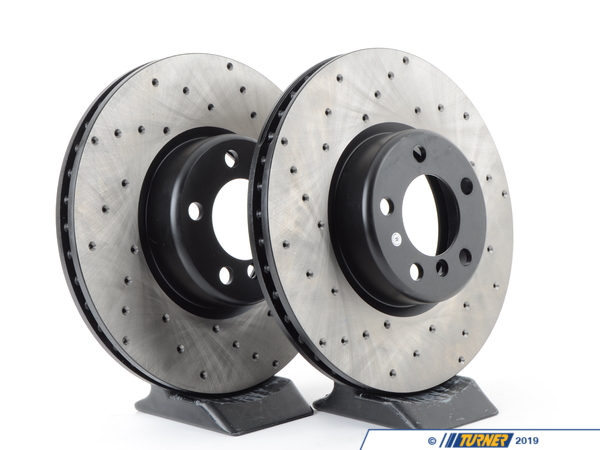 T#215363 - 34116792223CD - Cross-Drilled Brake Rotors - (340x30)(pair) - Front - F22 M235i M235iX, F30 335i 335iX, F32 435i 435iX - Direct replacement FRONT cross-drilled brake discs for the F30 335i, 335xi, and F32 435i 435xi. These rotors feature a unique black electro-coating that is designed to prevent corrosion. Each rotor is e-coated then double-ground and balanced to ensure an even surface with no vibration. The e-coating is the best anti-corrosion protection currently available in replacement rotors. Most aftermarket rotors are not coated, allowing surface rust to form right away, which is unattractive when brakes can be seen through your wheels.A cross-drilled rotor helps to release gases that build up between the rotor surface and an out-gassing brake pad. Without an escape, this thin layer of gas will cause a delay until the pad cuts through gas layer. The holes in our rotors allow the gases to escape, giving better braking performance and a sportier look. Direct replacement for BMW # 34116792223.F30 Brake FAQ ArticlesF30 328i Brake Package DifferencesF30 335i Brake Package DifferencesBrake Rotor Buying GuidePrice is for a pair of rotors.This item fits the following BMWs with their stock braking systems:2014+  F22 BMW M235i M235iX2012+ F30 BMW 335i 335xi - Sedan2014+ F32 BMW 435i 435iX - Coupe2014+ F33 BMW 435i 435iX - Convertible2014+ F34 BMW 335iX - Gran Turismo2014+ F36 BMW 435i 435iX - Gran CoupeThis item fits the following BMWs with the S2NHA M Sport brake option:2014+  F22 BMW 228i 228iX2012+ F30 BMW 328i 328xi - Sedan2012+ F31 BMW 328i 328iX - Wagon2014+ F32 BMW 428i 428iX - Coupe2014+ F33 BMW 428i 428iX - Convertible2014+ F34 BMW 328i 328iX - Gran Turismo2014+ F36 BMW 428i 428iX - Gran Coupe - StopTech - BMW