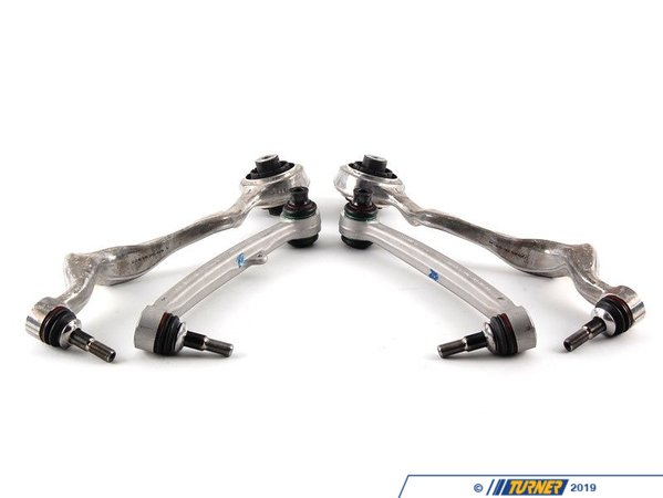 T#339948 - TMS12059 - M3 Front Upper+Lower Control Arm Upgrade - Left and Right - E82, E9X - The front upper and lower control arms from the E9X M3 are a direct bolt-in replacement upgrade for the stock parts on the non-M E90/E91/E92/E93 3-series and E82/E88 1-series. With the M3 components the fluid-filled bushings of the standard suspension are replaced with solid rubber cores or a sealed monoball-joint, making the suspension stiffer, more responsive, and longer lasting.This package includes:M3 front upper control arms (thrust arm, tension strut) (31102283575 and 31102283576)The upper control arms eliminate the fluid-filled stock bushing which is very prone to leaking the fluid and cease being effective. The solid rubber M3 bushing is also a bit stiffer for more precise steering and control.M3 front upper inner bushings (31102283579)M3 front lower control arms (wishbone) (31102283577 and 31102283578)The M3 lower control arm has a sealed inner bearing instead of the rubber-isolated stock bushing. The bearing allows the lower arm to rotate freely instead of binding up. It's also a bit longer and curved slightly to give more negative camber (adds .75 of negative camber).Optional: M3 headlight adjusting rod (37142283867). This rod corrects the headlights for your ride height. The original non-M leveling rod will not work on the new M3 control arm. This rod is required on all cars with Xenon headlights but not needed for standard halogen lights.With the added negative camber the steering is sharper and understeer is reduced. And the stiffer bushings and bearings deflect less which also improves steering feel and response. Since all of these parts are from the M3 there is no question on quality or longevity; no doubt as to their effectiveness or reputation. There's almost no downside to this upgrade. These are intended for street cars but even lightly tracked cars will see significant benefits to the handling and response.We offer this package with the OEM TRW brand components or with Original BMW branded parts (stamped with TRW logo).This M3 upgrade package fits the following BMWs:2008-2012  E82 BMW 128i 135i 1M Coupe2006-2011  E90 BMW 325i 328i 330i 335i M3 - Sedan2006-2011  E91 BMW 328i - Wagon2007-2012  E92 BMW 328i 335i 335is M3 - Coupe2007-2012  E93 BMW 328i 335i M3- Convertible2009+Z4 BMWZ4 sDrive28i Z4 sDrive30i Z4 sDrive35i Z4 sDrive35is - Packaged by Turner - BMW