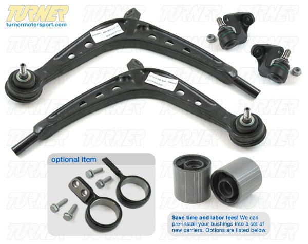 T#340202 - TMS1759 - Complete Front Control Arm Overhaul Kit - E46 325Xi/330Xi - OEM Replacement - Packaged by Turner - BMW